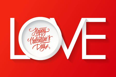 14 february: Happy Valentines day card. Vector inscription LOVE. 14 February card. Illustration