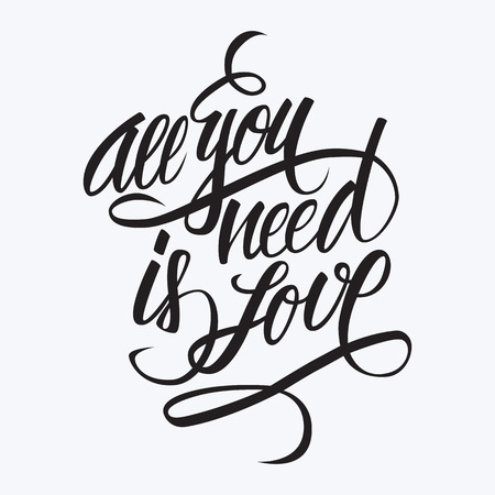 married: All you need is love hand lettering. Hand drawn card design. Handmade calligraphy. Black color.  Illustration