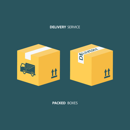 packed: Delivery service. Boxes icons set. Packed boxes. Carton package box icons. Illustration