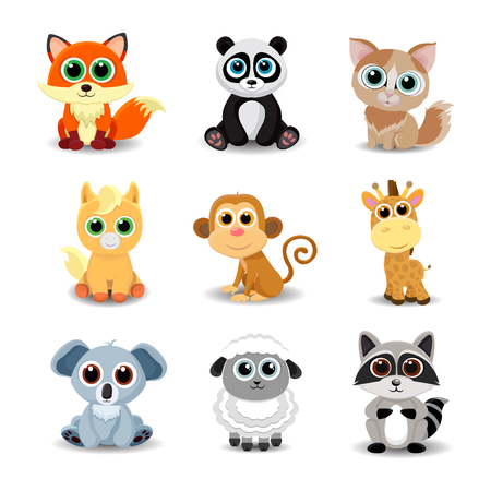 Collection of cute animals including fox, panda, cat, pony, monkey, giraffe, koala, sheep and raccoon. Color vector illustration. 일러스트