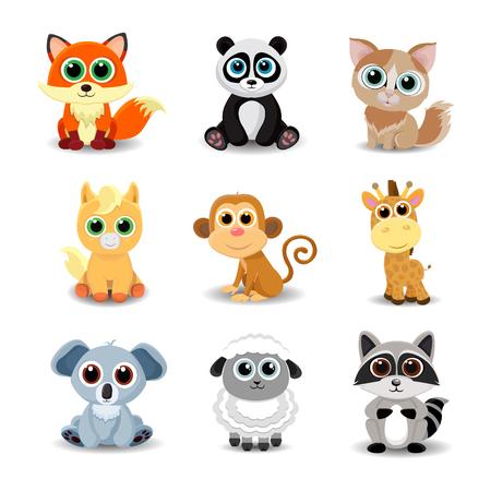 Collection of cute animals including fox, panda, cat, pony, monkey, giraffe, koala, sheep and raccoon. Color vector illustration. Illustration