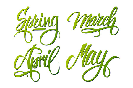 Spring. March, April, May. Spring months. Spring month lettering. Calligraphic season inscription.