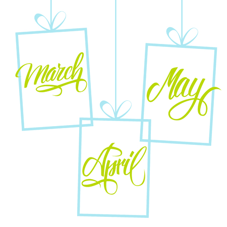 March, April, May. Spring months. Spring month lettering. Calligraphic season inscription. 일러스트