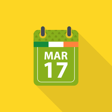 17th march: Saint Patricks day flat calendar icon with long shadow.
