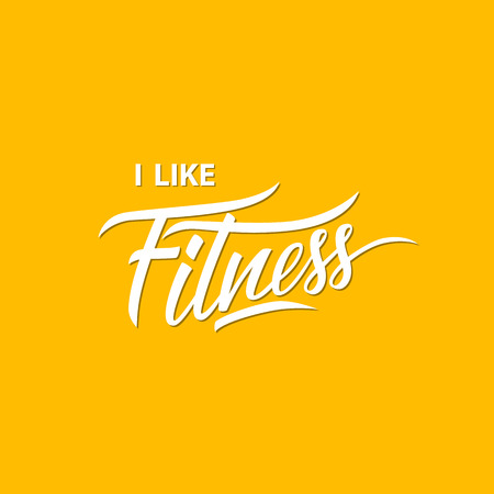 i like: I like fitness. Workout and sport motivation quote. Illustration
