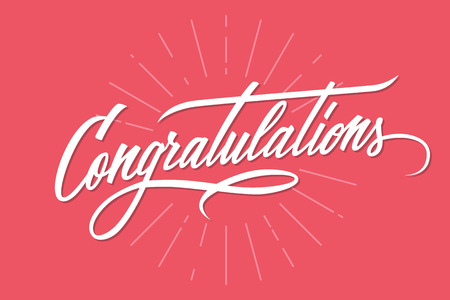 Congratulations. Hand lettering. Calligraphic greeting inscription. handwritten typography. Ilustração