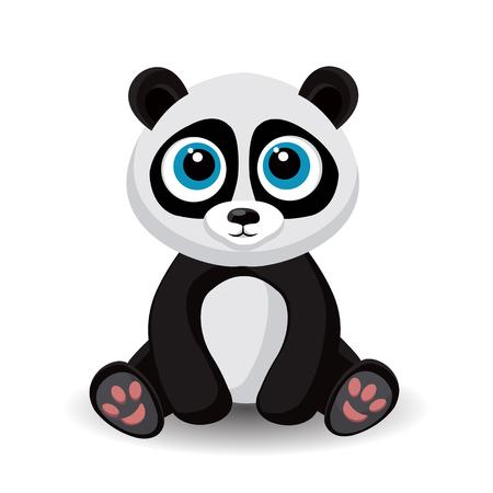 animal baby: Sitting cute little panda isolated on white background. illustration. Illustration