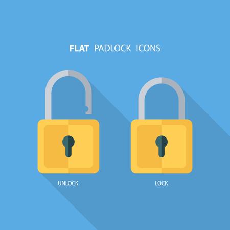 lock symbol: Flat padlock icons. Lock and unlock. Concept password, blocking, security. Lock symbol. Lock icon. illustration. Illustration