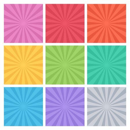 Colección de rayos de color. Conjunto de ray ray antecedentes. Resumen los rayos del sol. ilustración.