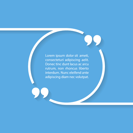 testimonials: Quote text bubble on blue background. illustration. Illustration
