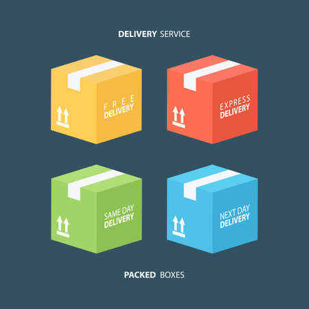 packed: Boxes icons set. Color packed boxes. Carton package box icons. Free delivery, express delivery, same day delivery, next day delivery. illustration.