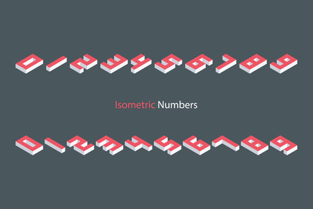 threedimensional: Collection of the isometric numbers. Three-Dimensional elements. illustration. Illustration