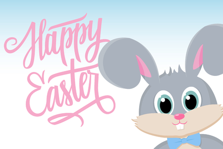 cartoon easter: Cute easter bunny with Happy Easter greetings. Happy Easter greeting card. inscription Happy Easter. Happy Easter lettering. Happy Easter symbol. illustration.