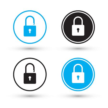 lock symbol: Flat padlock icons. Padlock buttons. Lock and unlock. Concept password, blocking, security. Lock symbol. Lock vector icon. Vector illustration.