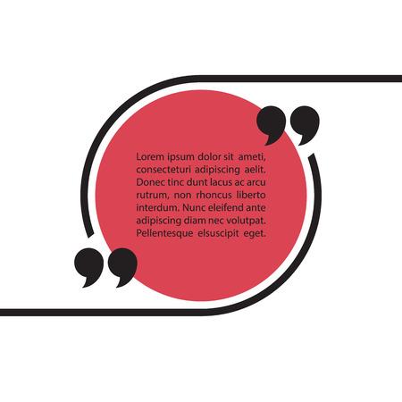 Cita burbuja de texto sobre fondo blanco. Cita la plantilla de burbuja. formulario de cotización. Ilustración del vector.
