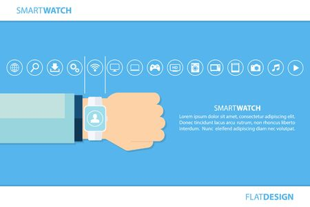 wireless internet: Smart watch and internet of things concept. Smart watch and smart home devices icons. Consumer and connected devices. Vector illustration.