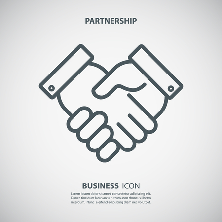 Partnership icon. Handshake icon. Teamwork and friendship. Business concept. Flat vector illustration. Ilustração
