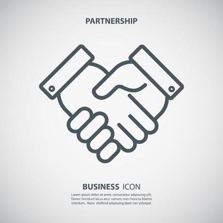 Partnership-Symbol. Handshake-Symbol. Teamwork und Freundschaft. Geschäftskonzept. Flache Vektor-Illustration.