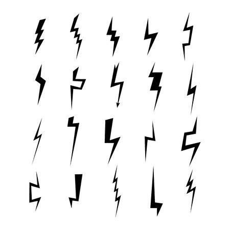 Lightning silhouette. Lightning bolt icon. Set of blue thunderbolt silhouettes. Lightning strike. Vector illustration.
