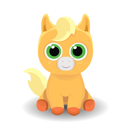 little: Sitting cute smiling little pony isolated on white background. Vector illustration.