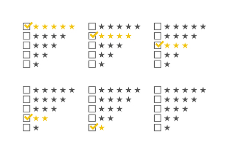 satisfied customer: Rating stars set. Stars rating template. Stars checklist rating collection. Vector illustration.