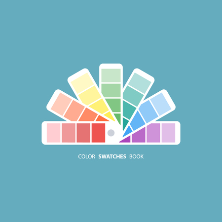 color swatch book: Color swatches book. Color palette guide. Color swatch icon. Color swatches flat sign. Vector illustration.