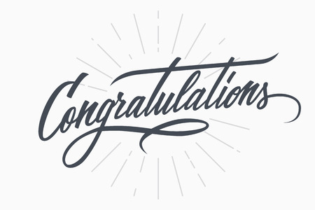 scripts: Congratulations. Hand lettering. Calligraphic greeting inscription. Vector handwritten typography.