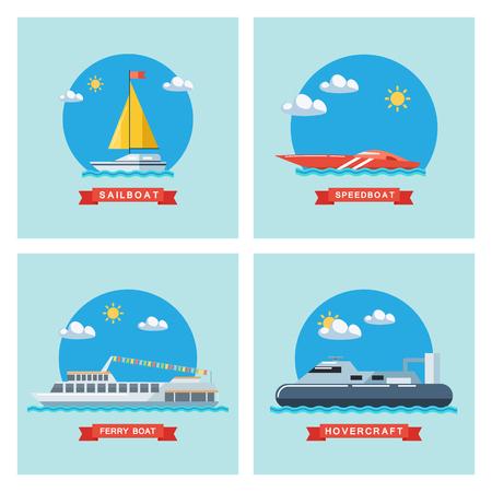 Set della barca a vela piatta, traghetto, motoscafo e icone hovercraft. Trasporto marittimo. Vector design illustrazione. Vettoriali
