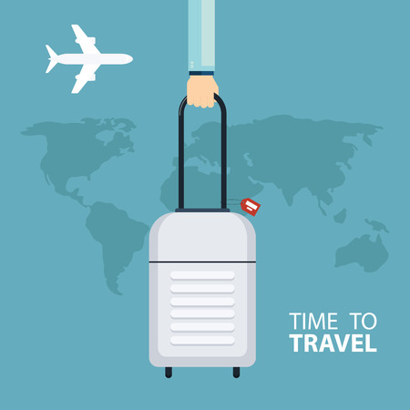 travel bag: Time to travel concept. Male hand holding travel bag. Side view flat vector illustration.