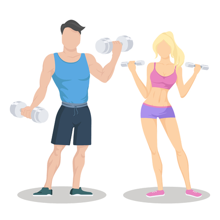 sporty: Fitness young sporty couple with dumbbells. Fit couple. Workout partners. Flat vector illustration.