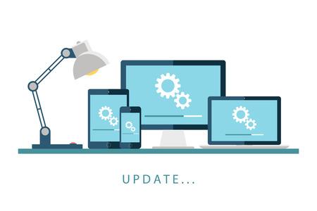 Desktop-Computer, Laptop, Tablet und Smartphone mit Update-Bildschirm. Update-Prozess. Installieren neuer Software, Betriebssystem, Update-Support. Vektor-Illustration.