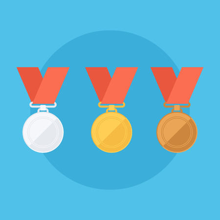 gold silver bronze: Gold, silver, bronze medals. Flat design illustration. Illustration