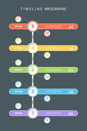 graphical chart: Color timeline infographic design template with diagrams and icons. illustration for workflow layout, diagram, number options, presentation and web design.