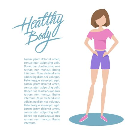 sporty: Sporty young woman in sportswear with handwritten inscription Healthy body. Healthy lifestyle concept. Flat style illustration. Illustration