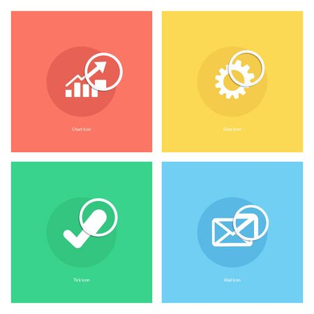 confirm: Chart icon, gear icon, tick icon, mail icon with magnifying glass. illustration. Illustration
