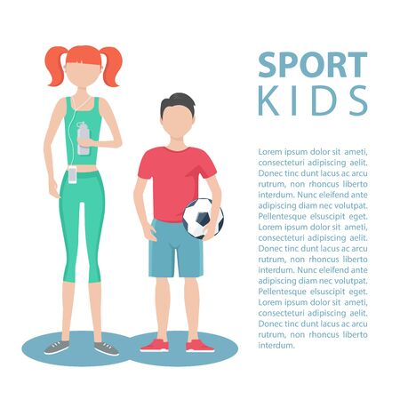 physically: Sport kids. Healthy lifestyle. Physically active girl and boy. Flat design illustration. Illustration
