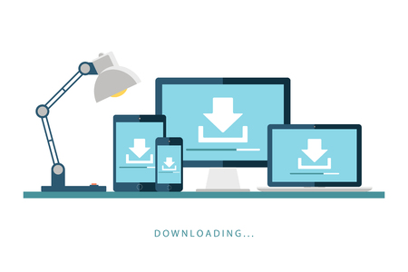 downloading: Desktop computer, laptop, tablet and smartphone with downloading screen. Downloading process. Install new software, operating system. illustration.