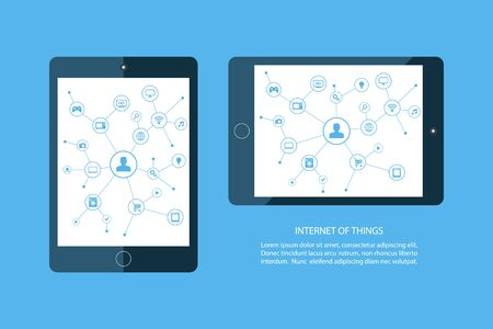 consumer: Internet of things concept. Mobile tablet and smart home devices icons. Consumer and connected devices. Internet networking, online shopping. illustration. Illustration