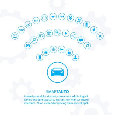 Slimme auto concept met auto-iconen. Internet van het vervoer dingen weg. Car pictogram van Wifi. Elektrische auto technologie. Auto icoon. Moderne vector illustratie. Stock Illustratie