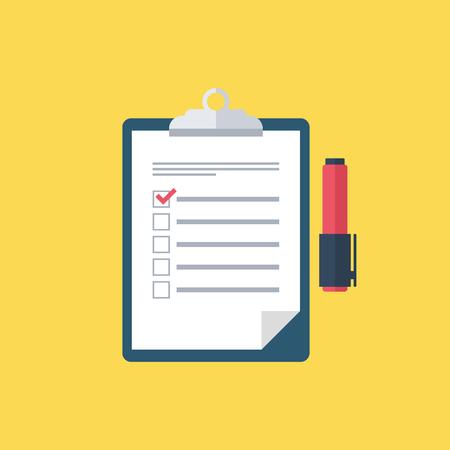 report form: Survey vector icon. Survey clipboard. Checklist and felt-tip pen. Survey form. Survey results. Report board. Clipboard. Vector illustration.