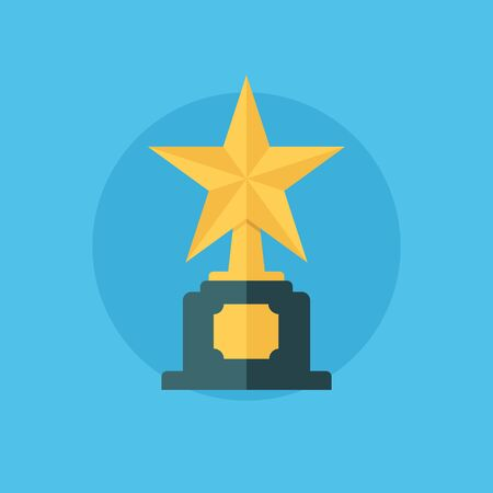 star award: Star award. Winner concept with trophy icon. First place. Star award icon. Flat vector illustration. Illustration