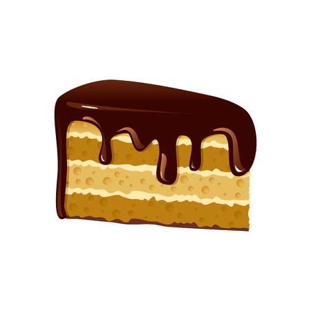 porcion de pastel: Pedazo de pastel de chocolate. Aislado en el fondo blanco. Vectores