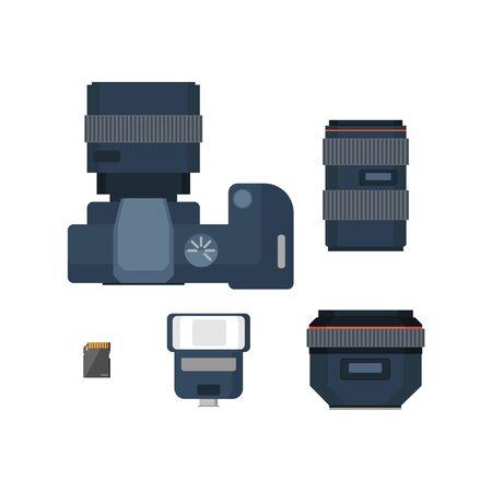 dslr: DSLR digital camera and accessories. Camera lenses, flash and memory card. Flat vector illustration.