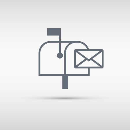 Mailbox icon. Mailbox sign or button isolated on grey background.