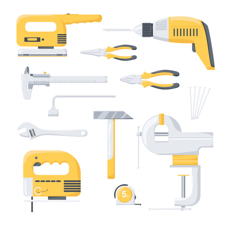 power tools: Collection of electric and mechanical power repair worker tools. Power tools. Hand tools. Flat illustration. Illustration