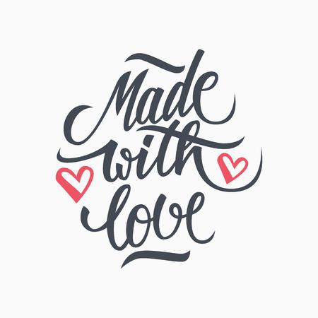 carta de amor: Hecho con amor de la inscripción manuscrita. Dibujado a mano las letras cotización. Hecho con Amor caligrafía. Hecho con Amor tarjeta.