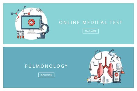 pulmonology: Hand drawn medical and healthcare concepts. Online medical test and Pulmonology. Banners for web design, marketing and promotion. Presentation templates.