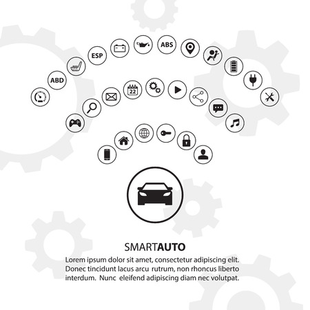 Smart auto car concept with automotive icons. Internet of things road transport. Electric vehicle technology. Illustration