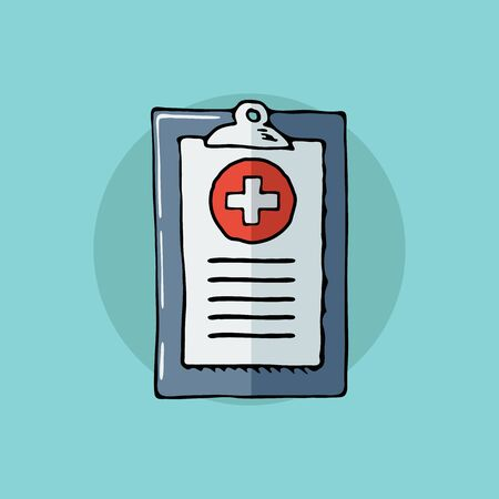 medical report: Medical report. First aid, diagnostic. Hand drawn illustration.