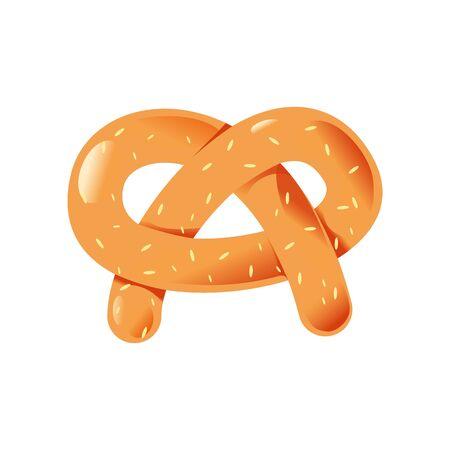bretzel: Tasty pretzel. Isolated on white background. Illustration